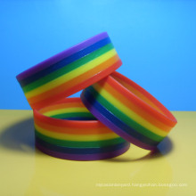 Fashion 6 Colors Layered Rainbow Rubber Wrist Bands Eco-friendly Layers Rainbow Silicone Bangles Bracelets