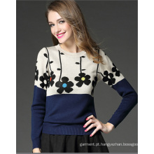 Yarn Jacquard Jersey Knit Mixed Batwing Loose Fit Knitwear