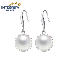 High Quality Pearl Earring AAA 9-10mm Button Pearl Earrings 925 Silver
