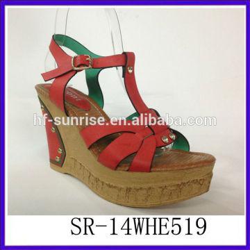 SR-14WHE519 2014 Women sexy sandal fashion ladies sandal new model wedge PU sandals