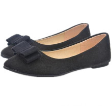 2014 cotton fabric lining material and slip-on fashion style bowknot ballerina shoe lady flat shoes