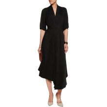Black Office Dress Gathered Crepe MIDI Dress