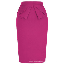 Grace Karin Mujer Alta Estirada Hips-Wrapped Vintage Retro Deep Pink Fushia Lápiz Falda CL010454-6