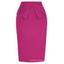 Grace Karin Women's High Stretchy Hips-Wrapped Vintage Retro Deep Pink Fushia Crayon Jupe CL010454-6
