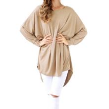 Kate Kasin Womens Casual Loose Long Batwing Sleeve Tan High-Low Dress KK000706-2
