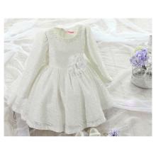 Spätestes Parteikleid des Babys Mädchen / Spitzekleid mit Blume für Hochzeitskleid