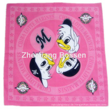 OEM produzieren kundengebundenes Karikatur-Firmenzeichen gedrucktes Baumwollkopf-Verpackungs-Schal