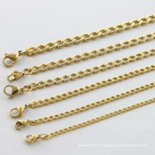 Vente en gros alibaba.2014 collier en acier inoxydable plaqué or, charmant pour collier homme
