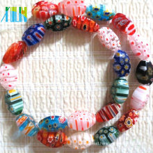 lampwork stone hollow facet twist millefiori beads