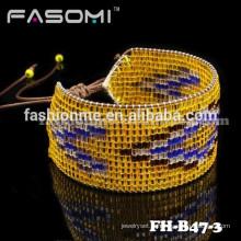 FASOMI excellent japonais graine perle cuir wrap breloque