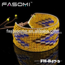 FASOMI excellent Japanese seed bead charm leather wrap bracelet