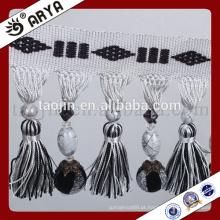 2016 Black and White Graduation Charms produtos para casa e decoração de contas de cristal e fio Tassel Curtain Fringe