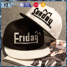 3D embroidery 100%cotton flat brim snapback cap