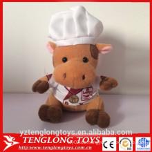 2015 nuevo juguete promocional de la vaca del peluche en uniforme del cocinero juguete de la vaca de la felpa