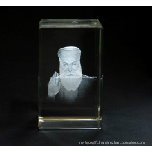 Guru Nanak Statue in Crystal Cube for Sikh Souvenir
