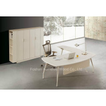 Table de direction moderne de bureau en forme de blanc L Shape (HF-YZ0039)