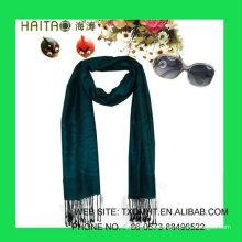 Jaquard bufanda azul de seda para mujer
