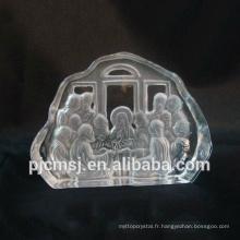 2015 vente chaude 3D laser gravé cristal iceberg pour religion Jésus sculpture en verre