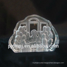 2015 hot sale 3D laser engraved crystal iceberg for religion Jesus glass sculpture