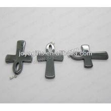 01P1002S / Collier croisé en hématite / croix / attache croisée / accessoire croisé avec découverte en argent