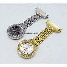 Calidad de acero enfermera clip en reloj con chapado de oro