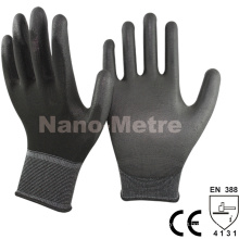 NMSAFETY 13 Gauge Nylon Liner Black PU Palm Coated Glove Stock Work Glove