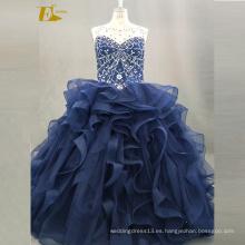 ED nupcial vestido de bola rebordeado imagen real sin mangas de encaje de espalda vestido de organza azul Quinceanera