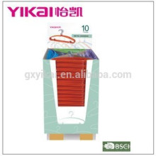 Supper market promotional colorful PVC coated metal clothes hanger in display carton