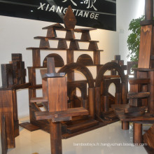 Design architectural maçonnerie bâtiment en bois blocs en bois non finis