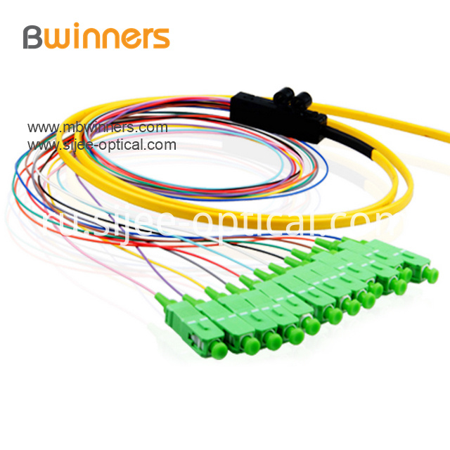 Single Mode 12 Core Scapc Ribbon Optic Cable Pigtail