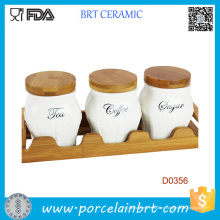 Taza de cerámica del tarro del recipiente del bote del azúcar del café del café con la bandeja