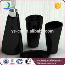 Venta al por mayor baño de cerámica jabón dispensador conjunto de accesorios, baño negro conjunto