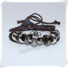 Fashion Jewelry Wholesale, Handmade Custom Infinity Black Fake Leather Bracelet (IO-CB159)