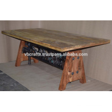 Steam Punk Crank Dining Table With Wooden Base Metal Natural Color