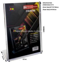 Soporte plástico del titular de la tarjeta de la clase alta vertical A4 con el logotipo que modifica para requisitos particulares