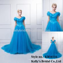 2015 Fábrica da China fez vestido de festa de aniversário de alta qualidade azul vestido de noite de draggê-cauda tingida de azul para muçulmanos