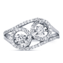 Fashion Dancing Diamond Double Stone 925 Silber Ring Schmuck