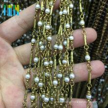 Fio Envolto Pérola Beads Fio De Metal Rosário Beads Cadeia