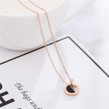 Womens Rose Gold Roman Numeral Necklace Personalized