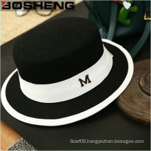 Wide Brim Ribbon Warm Wool Bowler Fedora Blend Felt Hat