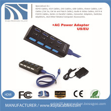4-port USB 3.0 Hub with Individual AC Power Switch and LED Lighting US/EU