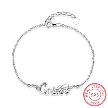 Romantische 925 Sterling Stahl Armband Buchstaben Design Anhänger für Frauen Hot Verkauf Schmuck