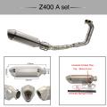 Silencieux de moto de système d'échappement de moto en acier inoxydable pour NINJA 400 Z400