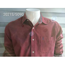Leisure One-pocket corduroy Garments Men's Red Shirts