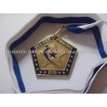 Customized Gym Medallion with Ribbon (plating gold&soft enamel)