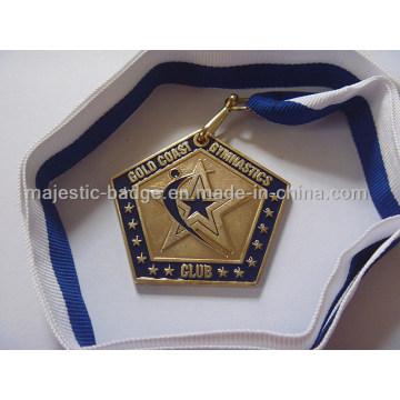 Customized Gym Medallion with Ribbon (plating gold&soft enamel)