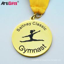 promoción del OEM barato logotipo de esmalte suave deporte medalla de gimnasia de oro pantalla