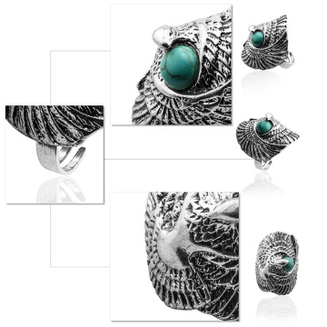 Women's Fashion Silver Zircon Synthetic Turquoise Ring