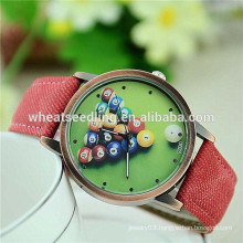 Retro billiards jeans band wrist watch for men