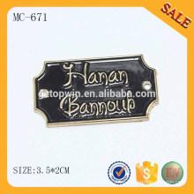 MC671 Logotipo en relieve respetuoso del medio ambiente cosido etiquetas personalizadas de prendas de vestir de metal de jeans